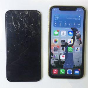 сломанное стекло Iphone 11