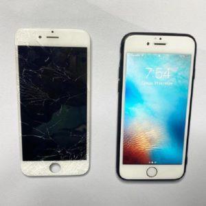 сломанное стекло Iphone до и после